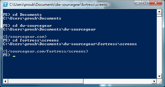 PowerShell prompt showing Fortress SCC mapping to current directory